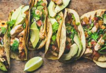 Tacos With Grilled Chicken, Avocado, Fresh Salsa Sauce And Limes