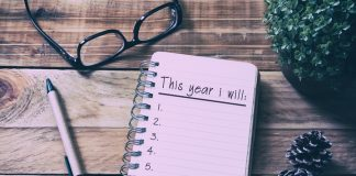 New Year Resolutions List On Notepad On Top Of Wood Desk