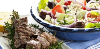 A Delicious Lamb Kebab With Greek Salad