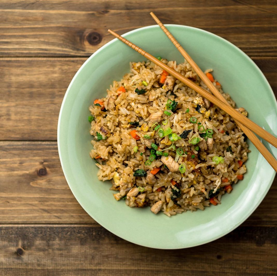Chicken Fried Rice in a bowl top view