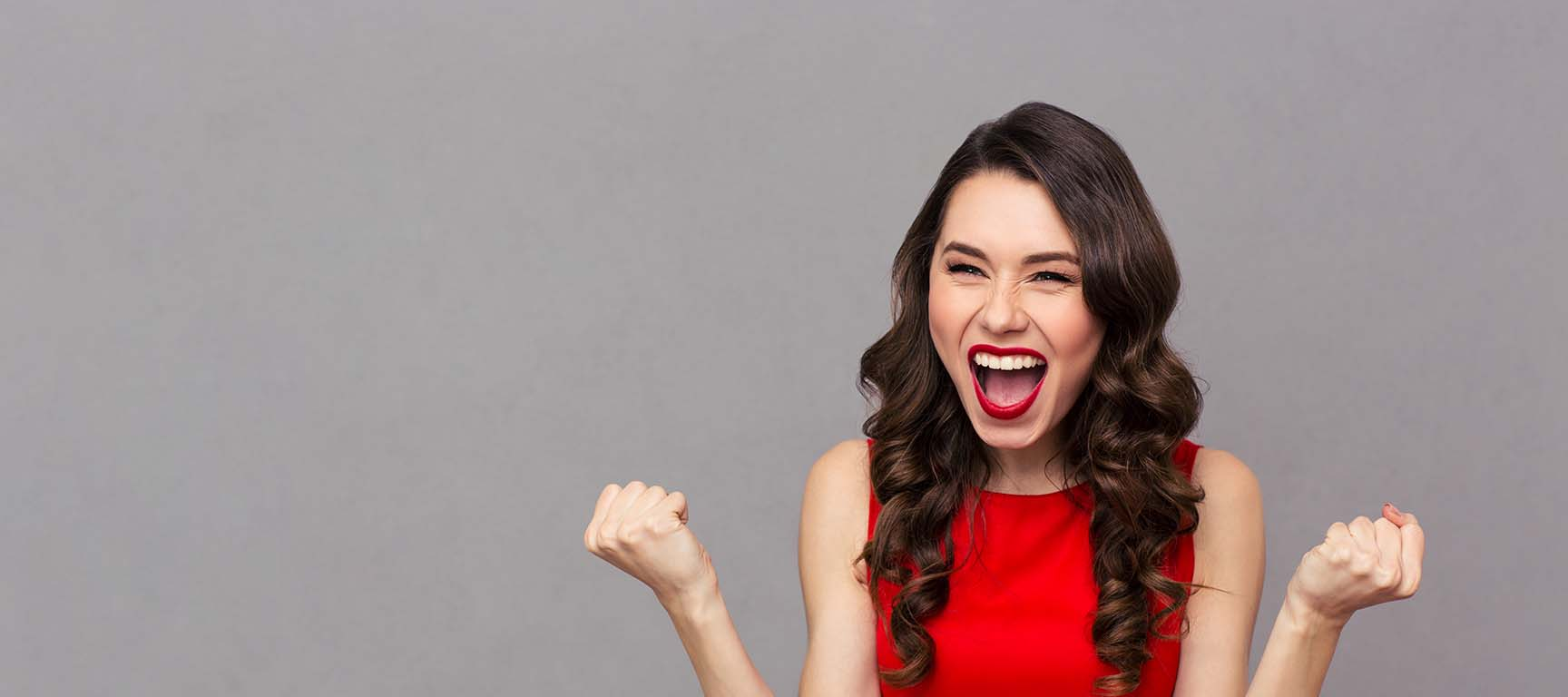 Cheerful Woman Celebrating Her Success